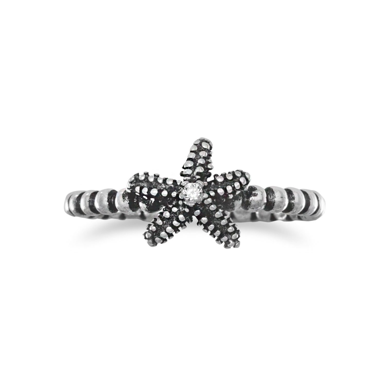 Silverly Womens .925 Sterling Silver Starfish Oxidized Stud Earrings