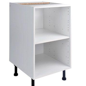 Caisson De Cuisine Bas B50 Delinia Blanc L50 X H85 X P56 Cm Meuble Cuisine Meuble Cuisine Blanc Ikea Meuble Bas
