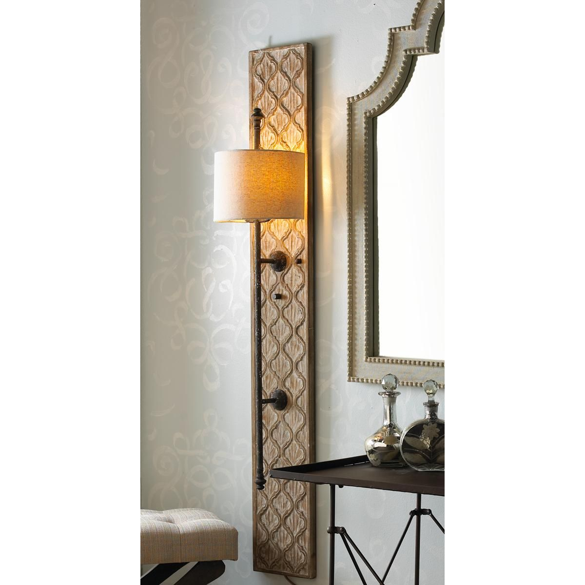 Quatrefoil Wooden Panel Sconce Interior Wall Sconces Wall