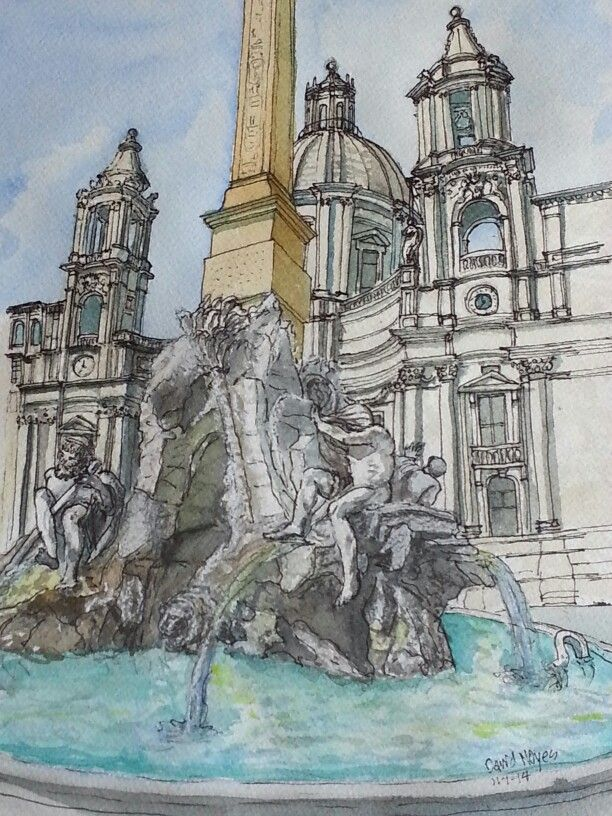 Bernini Fountain of Four Rivers Piazza Navona Rome Mixed ...