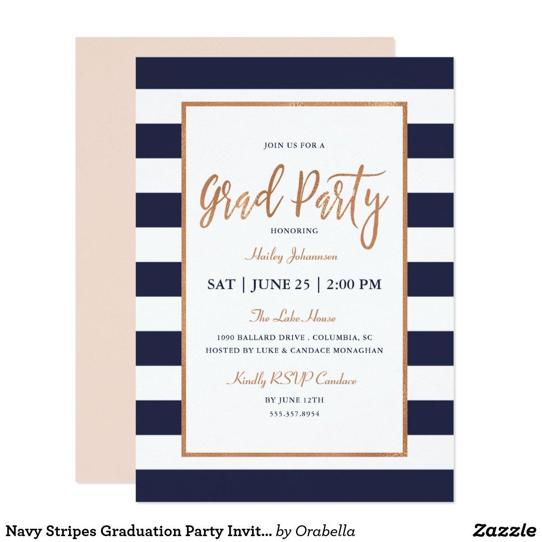 Navy stripes graduation party invitation congrats grads navy stripes graduation party invitation modern stylish graduation party invitations featuring faux rose gold foil filmwisefo