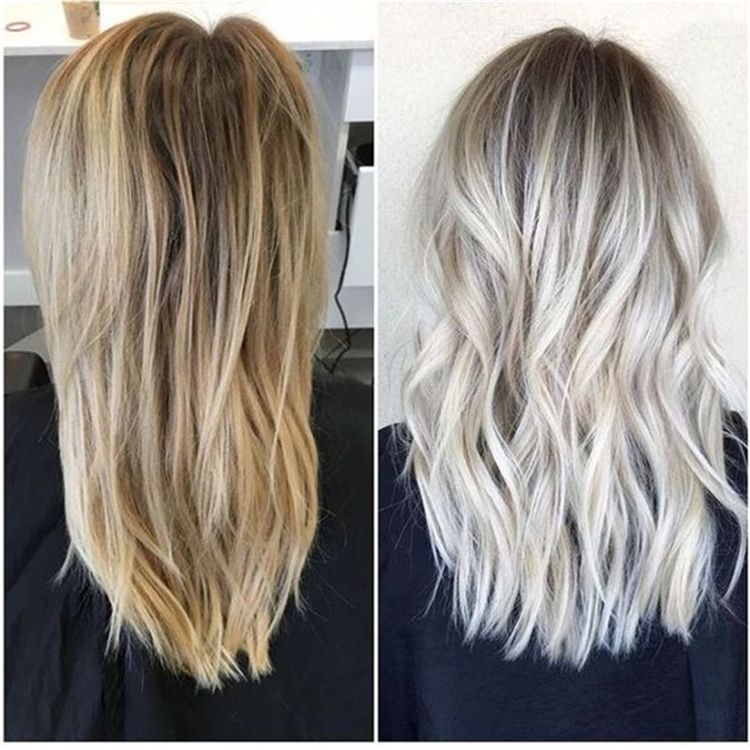 50 Hair Color Trends In 2019 Before After Highlights On Hair Tips Roots Hair Icy Blonde Hair Colored Hair Roots