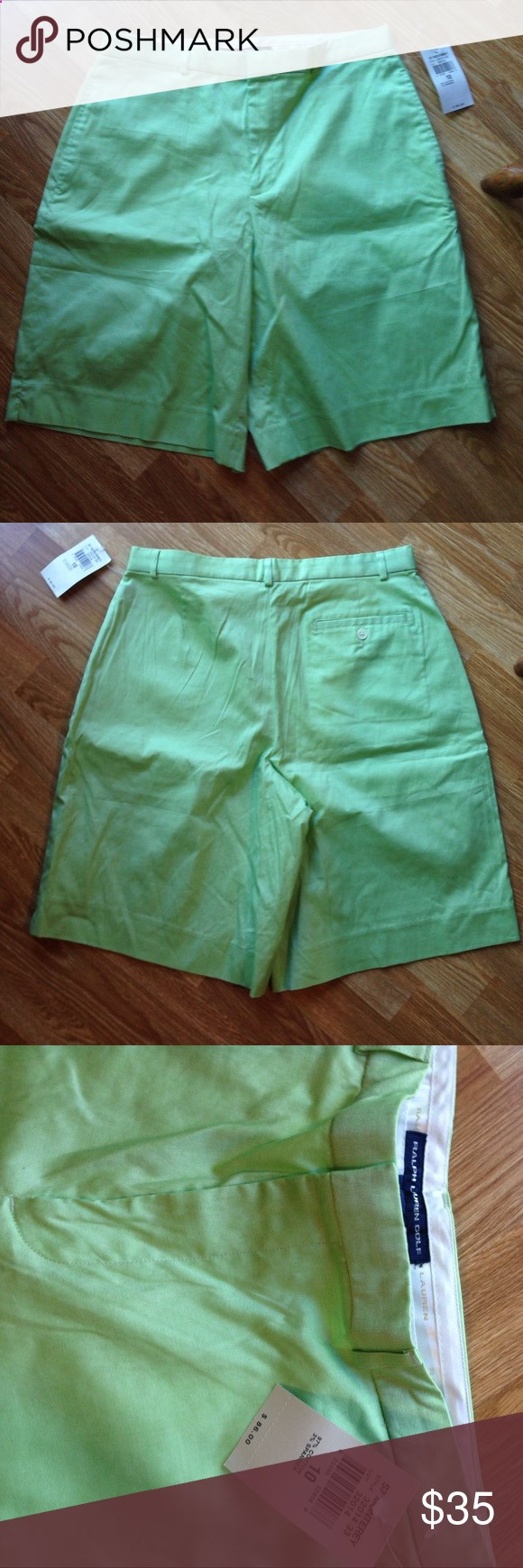 Ralph Lauren Golf Shorts Ralph Lauren Golf Shorts. Size 10. 97% Cotton 3% Spandex. New with tags $86. Front and 1 back pockets. Zipper fly with clasp closure. Pretty spring green. Waist measures 30 with a 10.5 inseam. See small spot in pic by pocket. Should come out but they are new and didnt want to wash. Super nice Shorts. Any questions please ask. Thank You 😊 Ralph Lauren Shorts