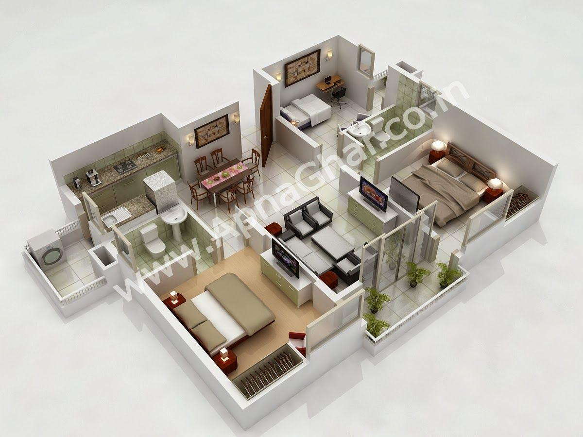 2 Story 3d House Floor Plan Planos de casas, Casas
