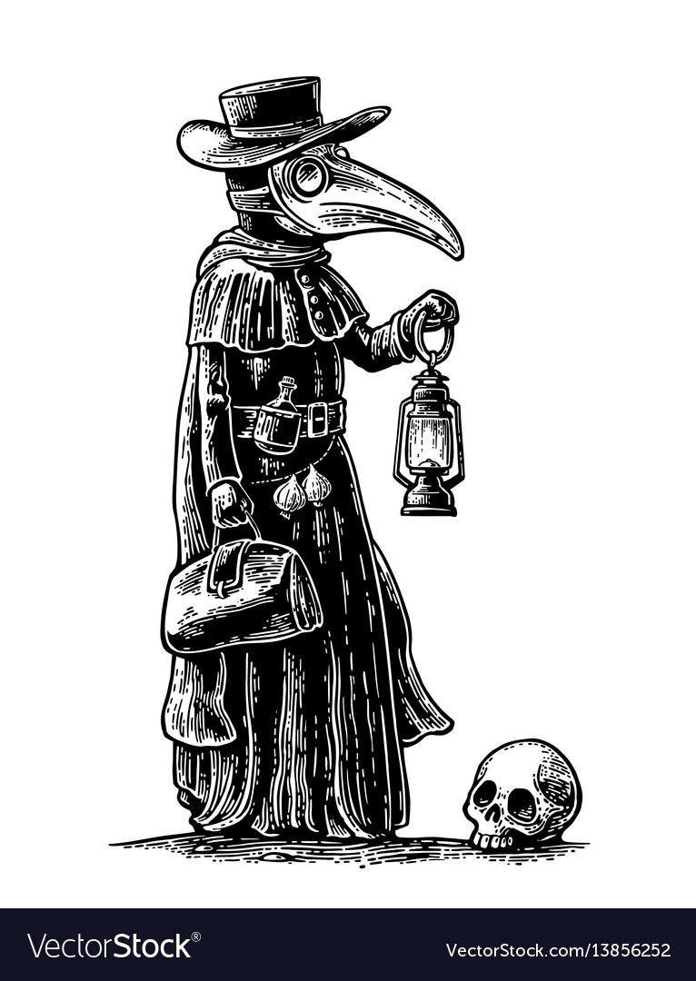 Plague Doctor With Bird Mask Suitcase Lantern Garlic And Hat Vector Black Vintage Engraving Illustration Isolated On Doctor Tattoo Plague Doctor Bird Masks