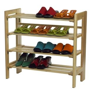 Stackable 4-tier shoe storage rack - The Shelving Store - Winsome Wood