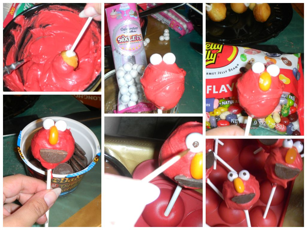 How to make ELMO cake pops Dip in red Wilton candy melts add