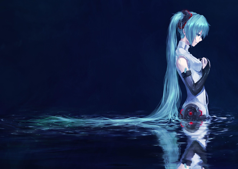 Vocaloid, Hatsune Miku, Blue Hair, Detached Sleeves
