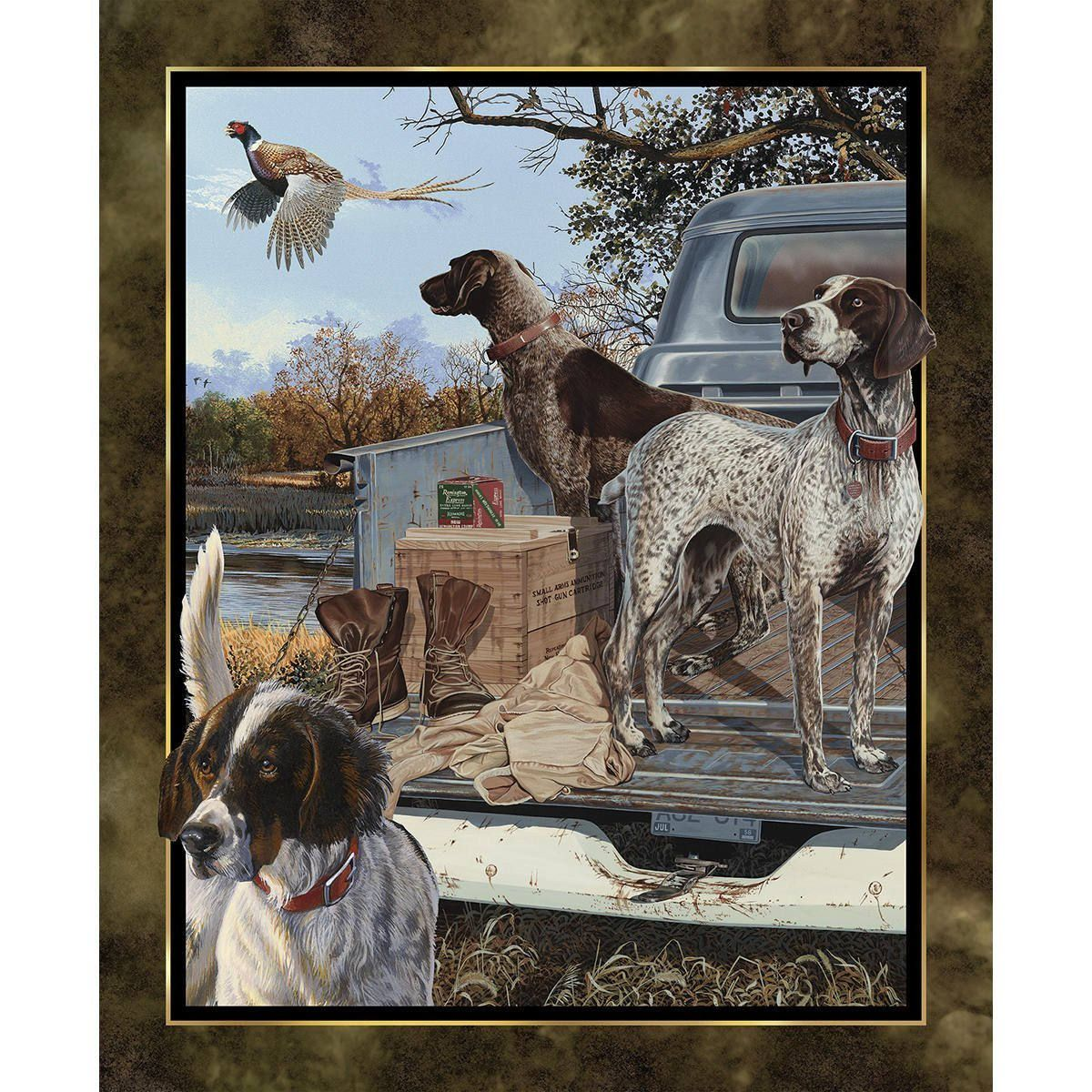 Dog Days Panel By Wild Wings Hunting Dogs Fabric Outdoor Bird Dogs