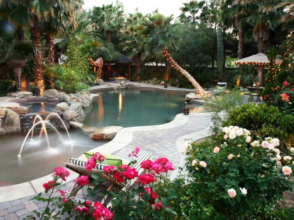 This backyard oasis is the perfect retreat for relaxation for Garden oases pool entrance