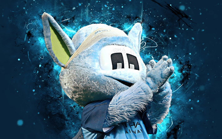 Download Wallpapers Moonchester, 4k, Mascot, Manchester