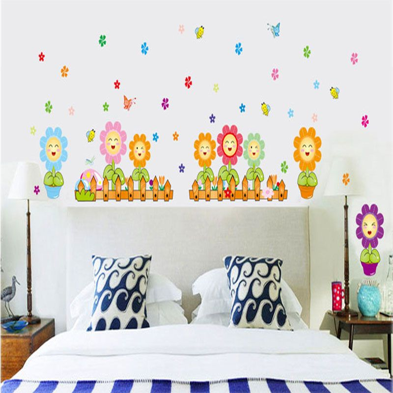 Home garden fashion flower home decoration chrysanthemum tv wall stickers free shipping children livingroom removable vinyl