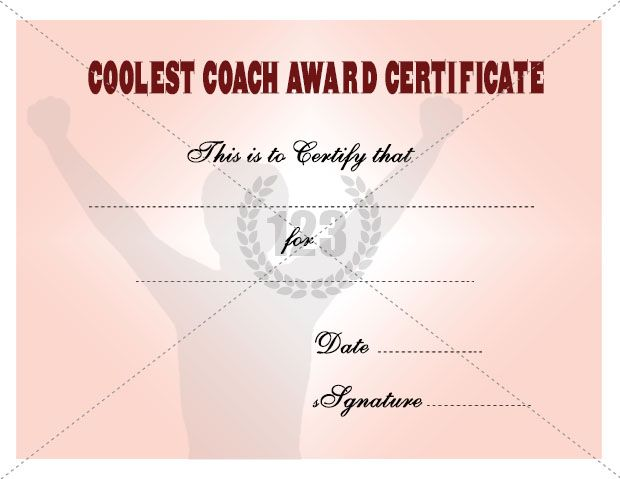 Coolest Coach Award certificate Templates Free Download - certificate of attendance template free download