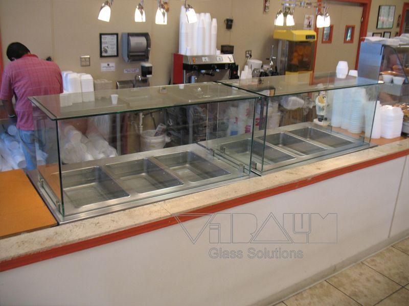 Restaurant Custom Glass Sneeze Guard Frameless Shower Doors Custom Glass Contemporary Shower