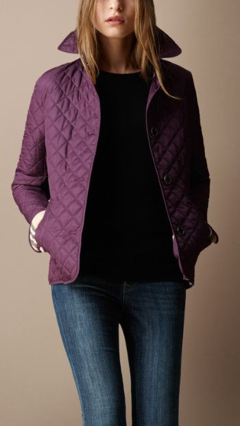 Burberry quilted jacket - want. This would look so good on me :-D ... : burberry purple quilted jacket - Adamdwight.com