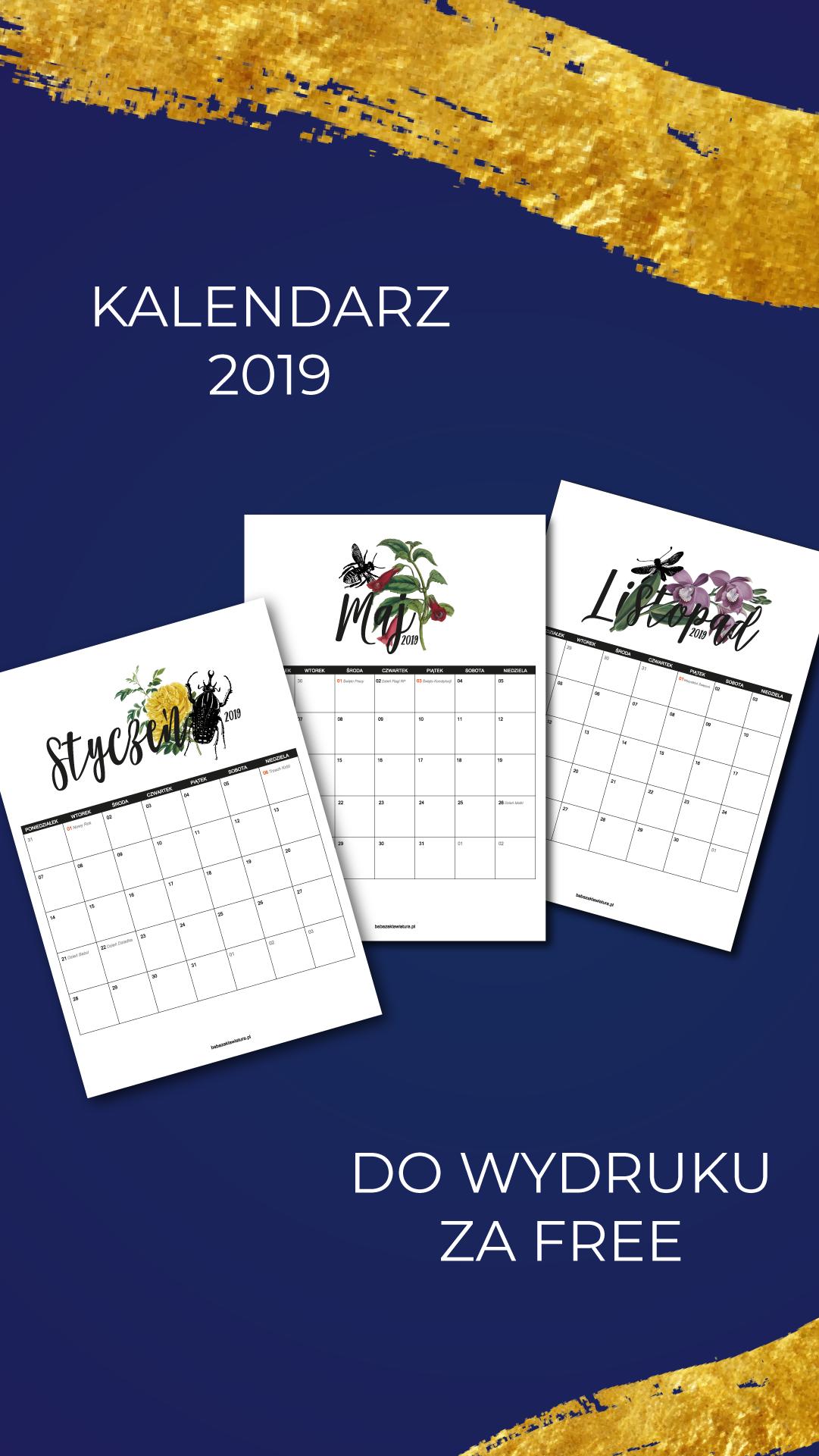 Kalendarz Na Rok 2019 Do Wydruku Za Free W środku Wszystkie