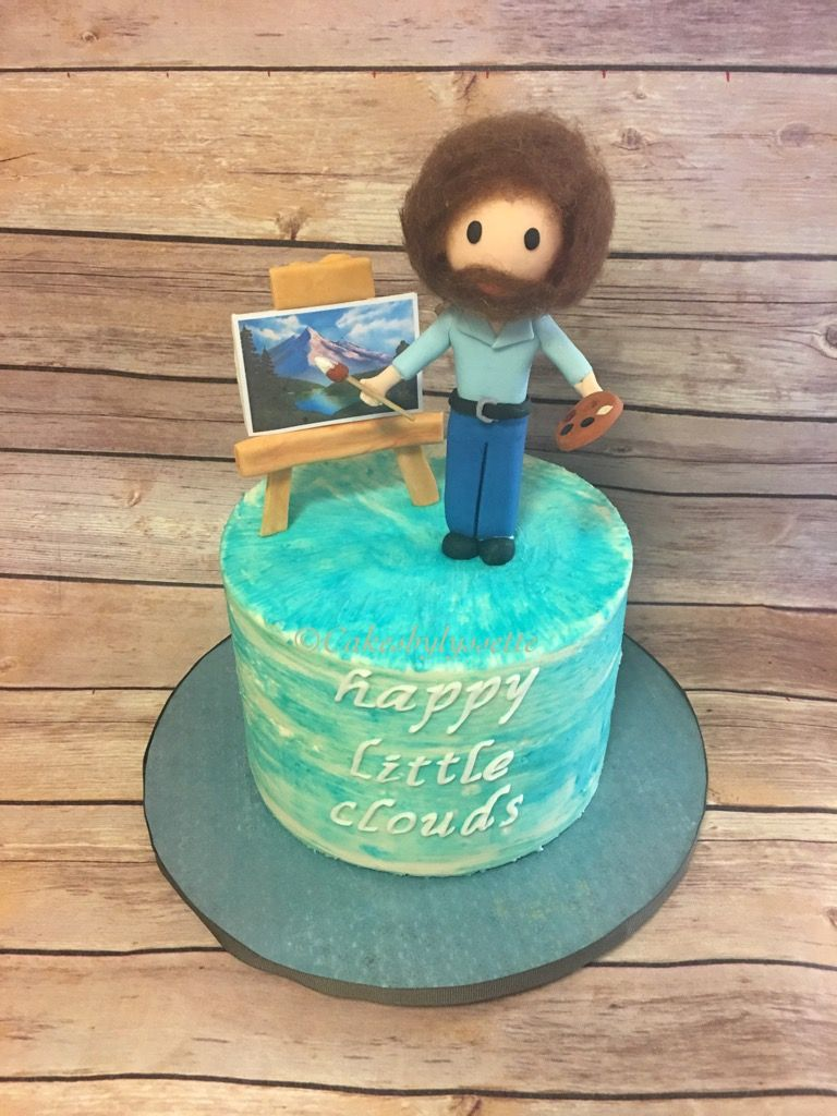 Bob Ross cake. Happy little clouds Bob ross birthday