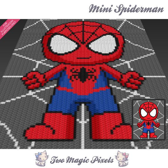 Mini Spiderman inspired c2c graph crochet von TwoMagicPixels | craft ...