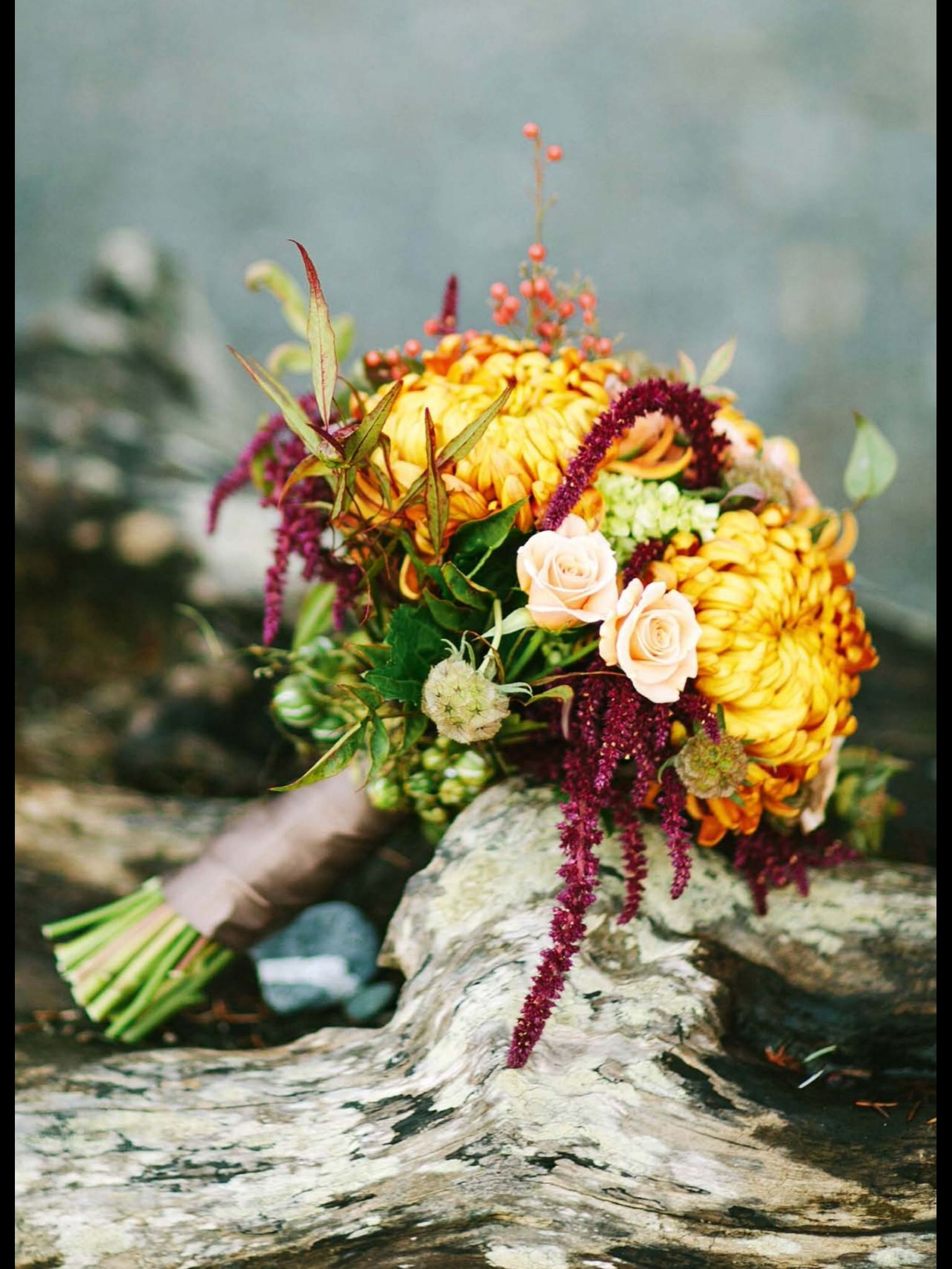 Orange and red flowers Autumn arrangement