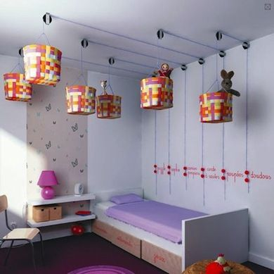 Freakishly awesome pulley baskets for storage in kids room