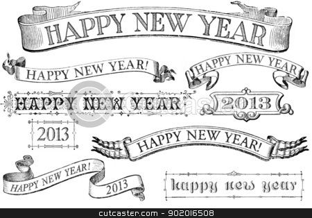 vintage style happy new year banners stock photo