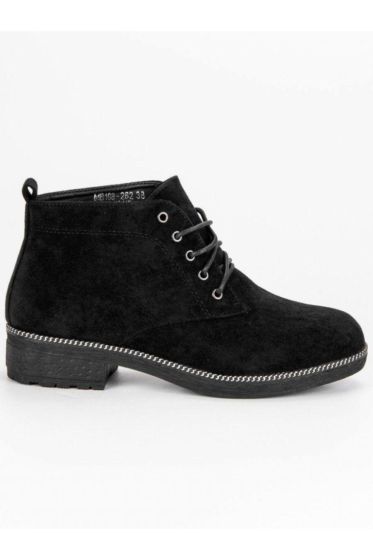 9c903fd07f77 Šnurovacie čierne členkové topánky NioNio MB188-262B