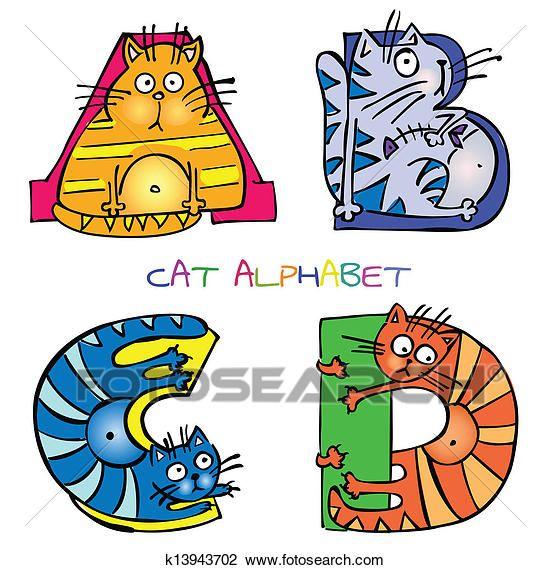 ネコ アルファベット A b c d クリップアート切り張り