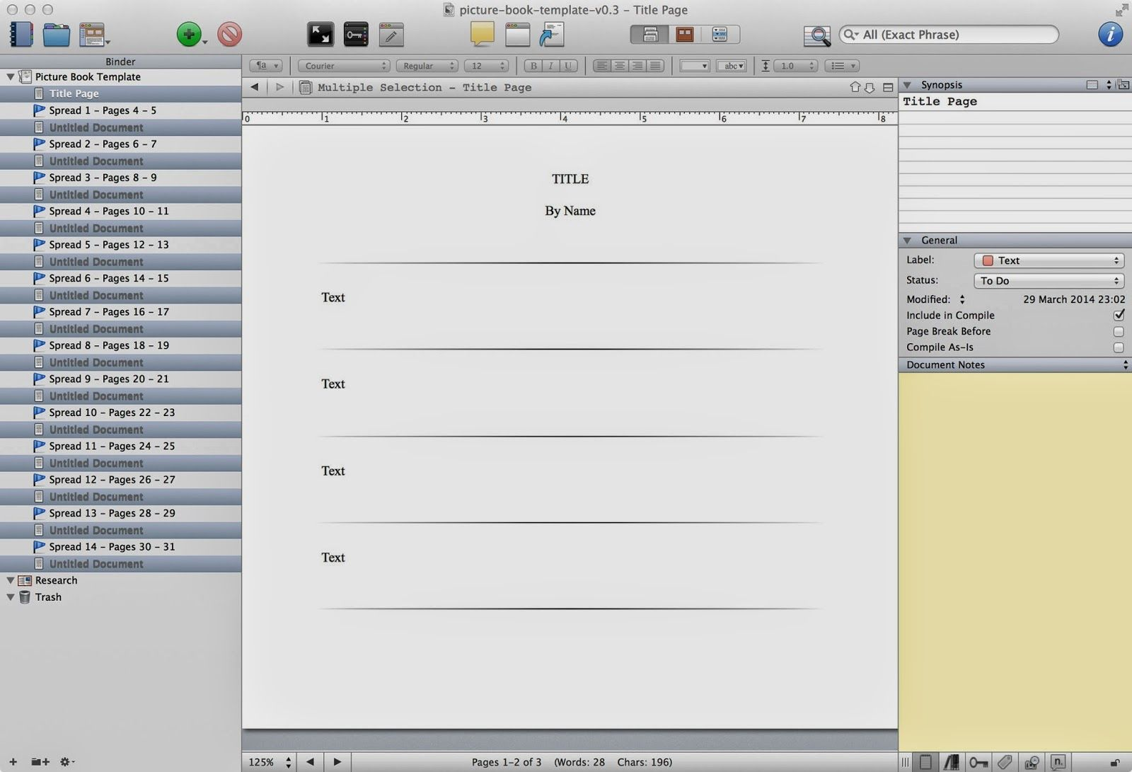Marvelous Writing A Picture Book In Scrivener   Free Scrivener Template