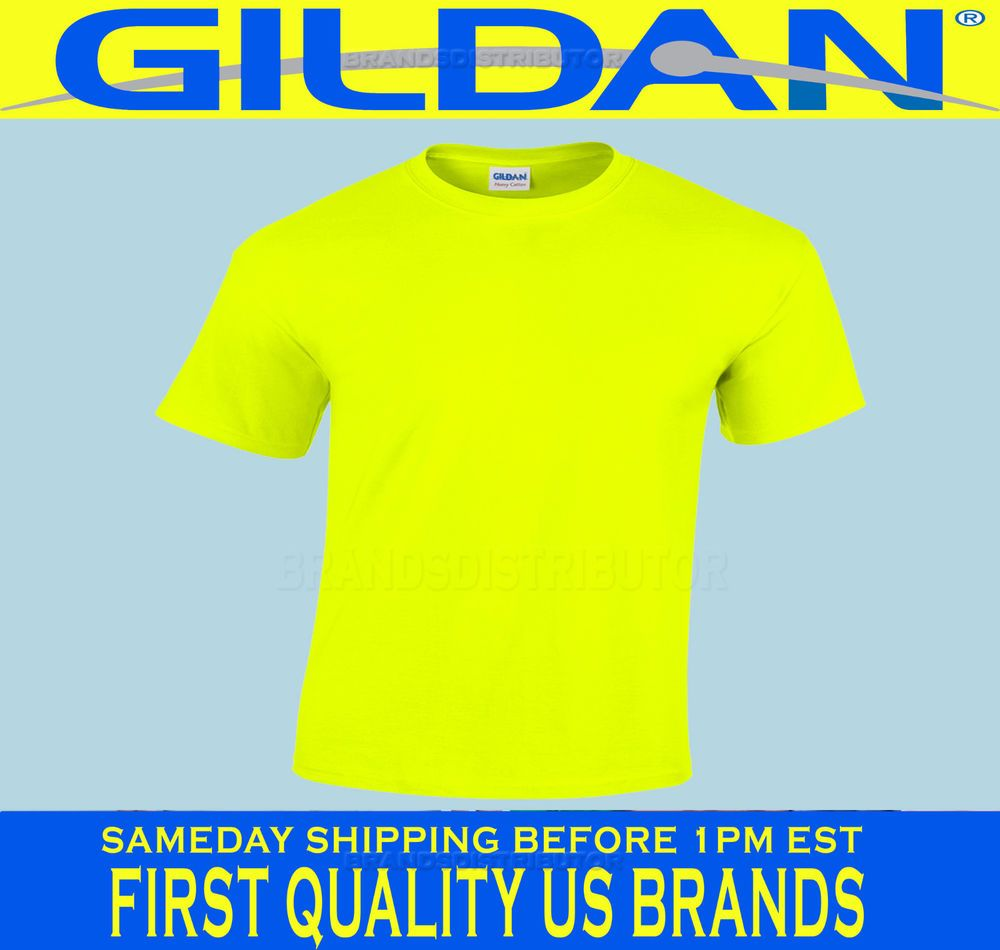 Black t shirt bulk - Details About Gildan Safety Yellow Green T Shirt Lot 12 S Xl Ansi High Visibility Bulk Blanks