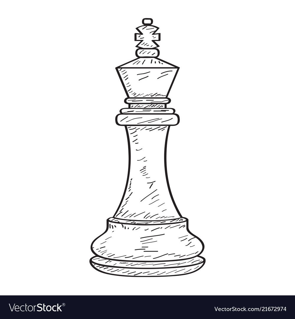Retro Sketch Of A King Chess Piece Vector Illustration Design Download A Free Preview Or High Quality Adobe Chess Piece Tattoo King Chess Piece Chess Tattoo