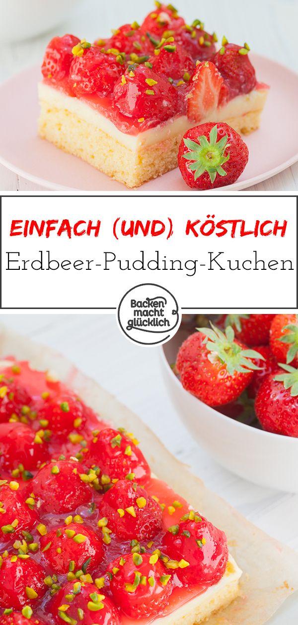 Erdbeerkuchen mit Pudding | Backen macht glücklich #cheesecakerecipes