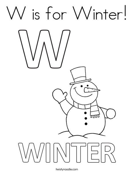 W Is For Winter Coloring Page Twisty Noodle With Images