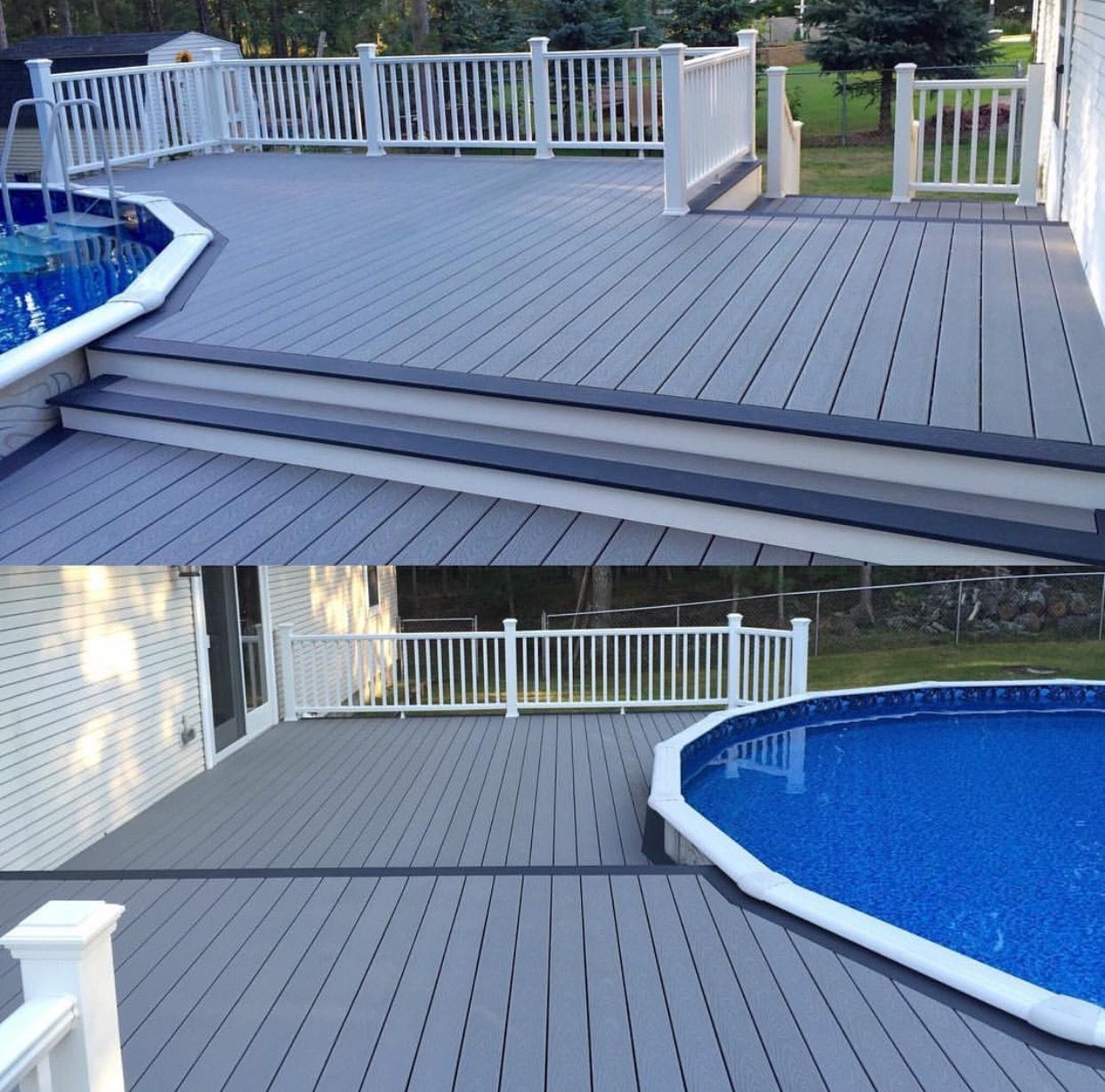 Trex Pebble Grey And Winchester Decking With Transcend Railing Call Renewit Group To Schedule