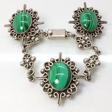 """Vintage Taxco Malachite Oval Sterling Silver 925 Bracelet Earrings Set 52g 7"""""""