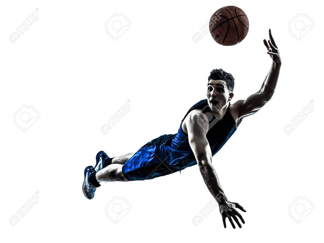 One Caucasian Man Basketball Player Jumping Throwing In Silhouette Isolated White Background Ad Player Jump Sports Posters Basketball Sport Poster Image