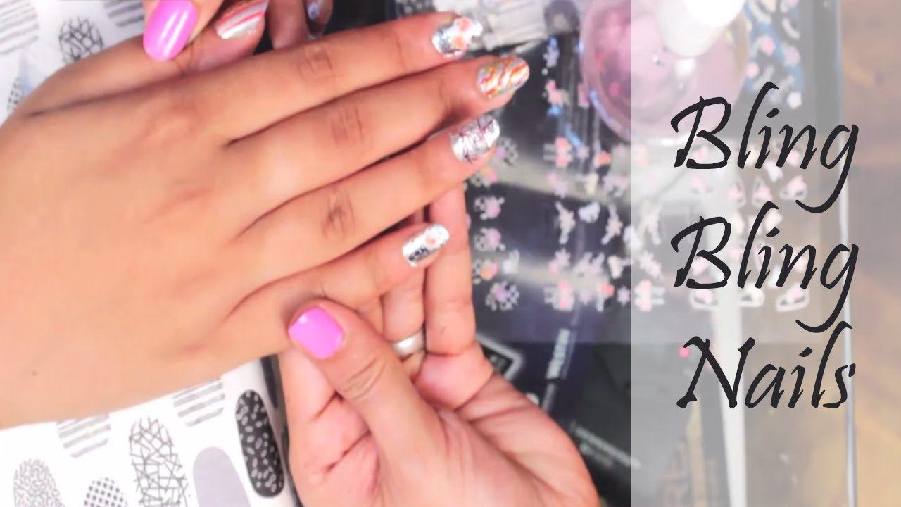 Bling Bling Nails DIY | Bling Nail Art Tutorial