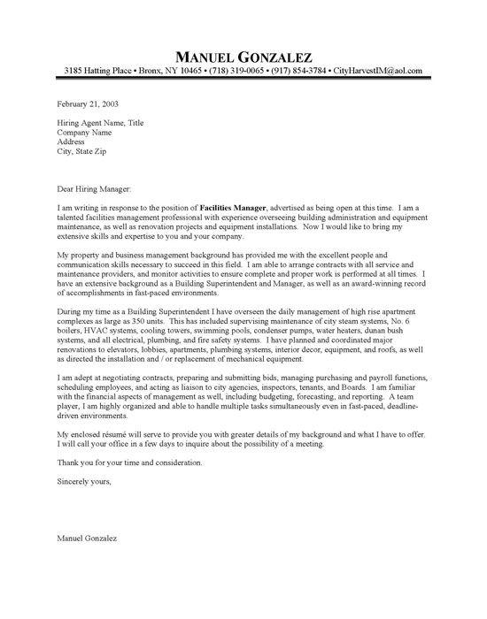 Sample Cover Letter Maintenance Position Building