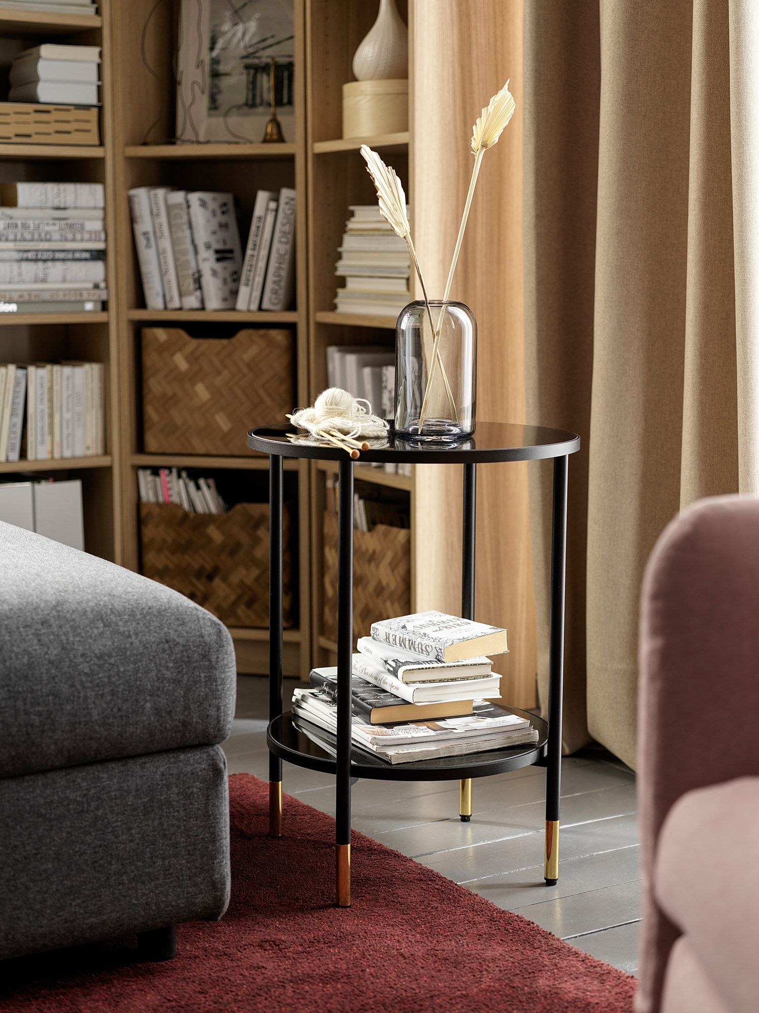 Asperod Side Table Black Glass Black Ikea In 2020 Black Side Table Side Table Ikea Living Room