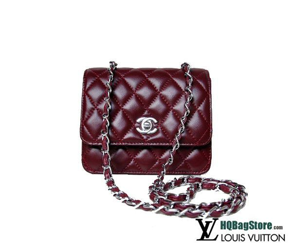 3a94cd8ff012 Chanel A67116 Classic mini Flap Bag Burgundy Sheepskin Silver ...