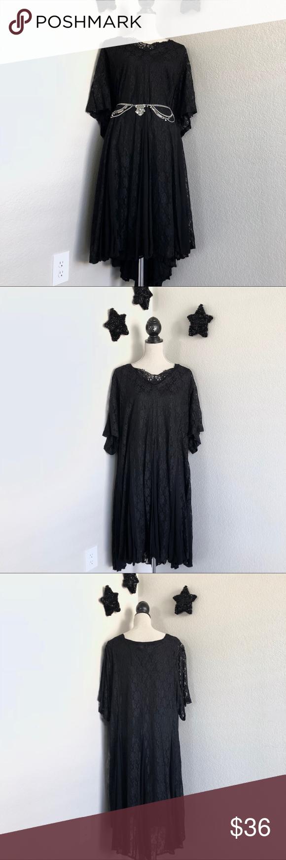 Vintage Black Lace Stevie Nicks Dress 16 Black Lace Dresses Dress 16 [ 1740 x 580 Pixel ]