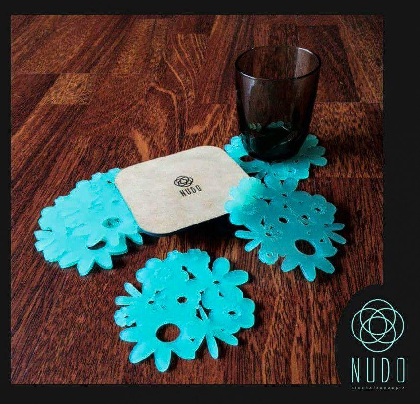 heart coasters, Flower coasters, Blue Coasters, Acrylic