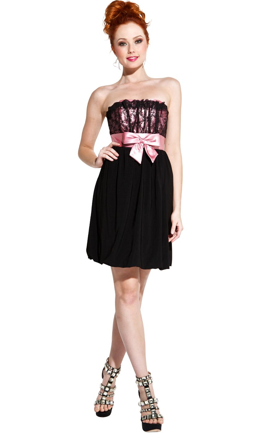 Strapless lace and satin cocktail prom little black dress