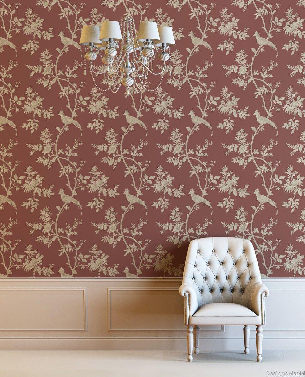 vliestapete blumen rot creme tapeten rasch textil como. Black Bedroom Furniture Sets. Home Design Ideas