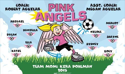 Angels-Pink-154853  digitally printed vinyl soccer sports team banner. Made in the USA and shipped fast by BannersUSA. www.bannersusa.com