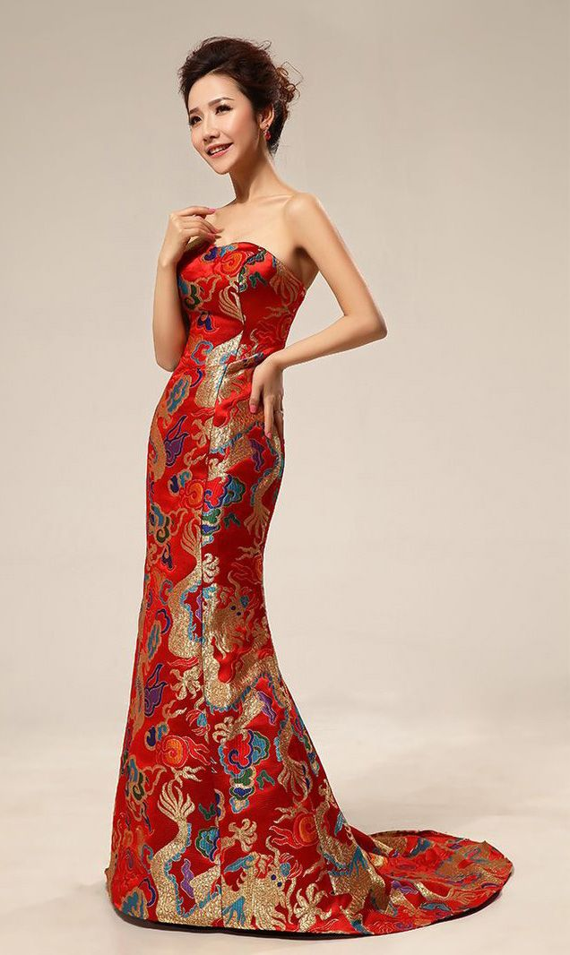 Red dragon silk brocade chinese inspired bridal dress gown for Asian inspired wedding dress