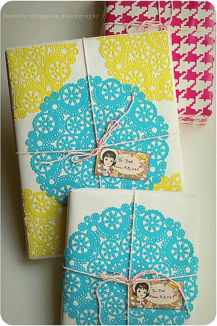 spray adhesive & doilies for wrapping