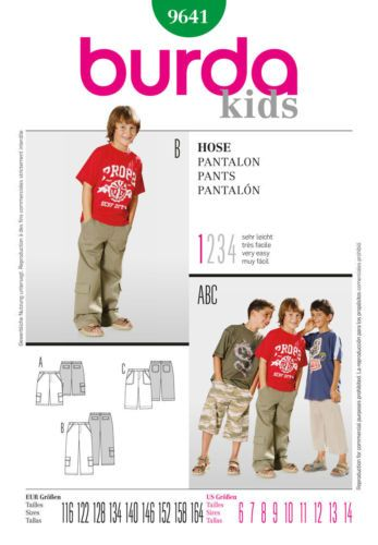 Burda 9641 Sewing Pattern Boys Childs Cargo Pants Trousers Shorts Pocket 6-14yrs | eBay