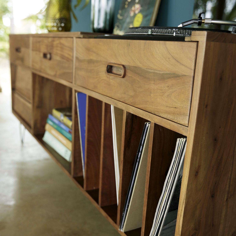 Aparador mueble de vinilos de acacia maciza | Maisons du