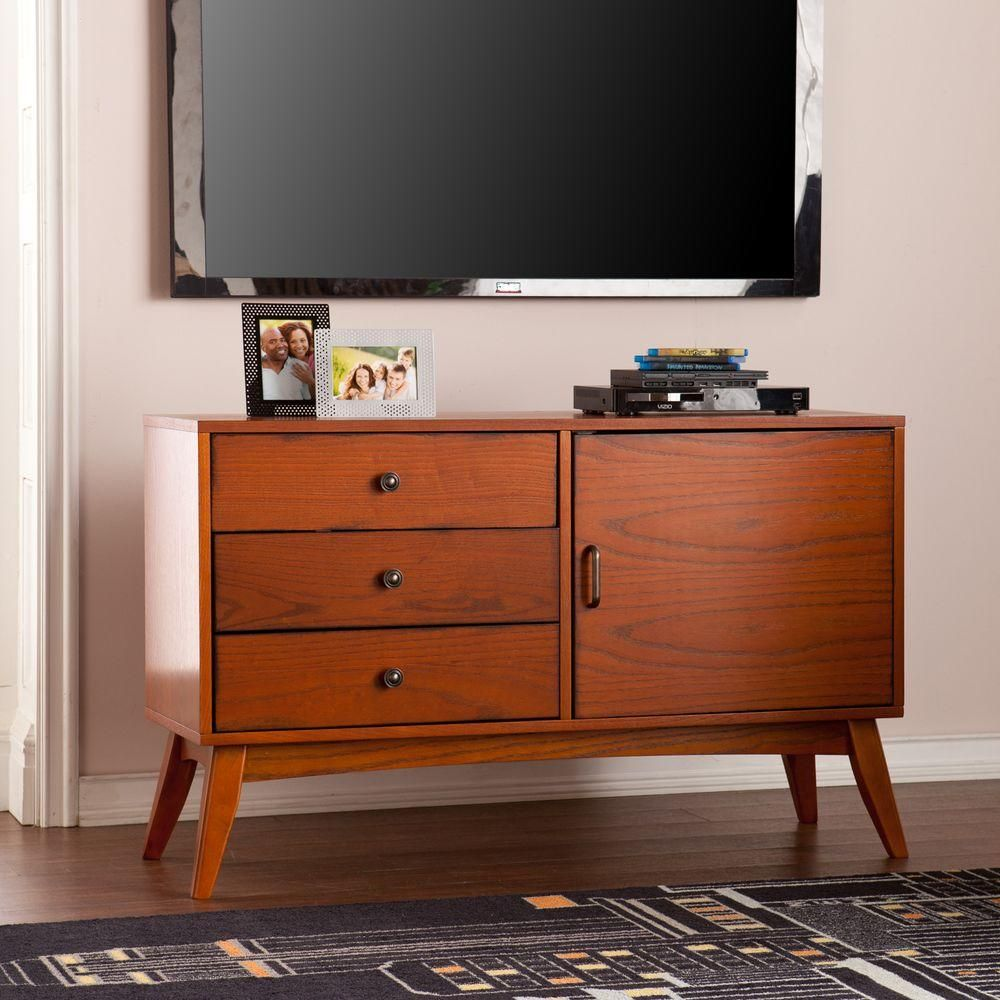 Colombus Warm Brown Mahogany Entertainement Center Products # Meuble Tv Nolita