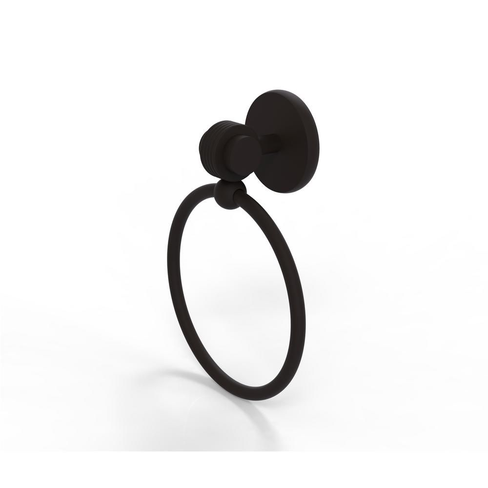 Allied Brass Satellite Orbit Two Collection Towel Ring with Groovy Accent in Oil Rubbed Bronze